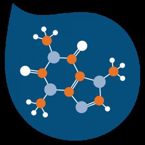 caffeine molecule in water droplet