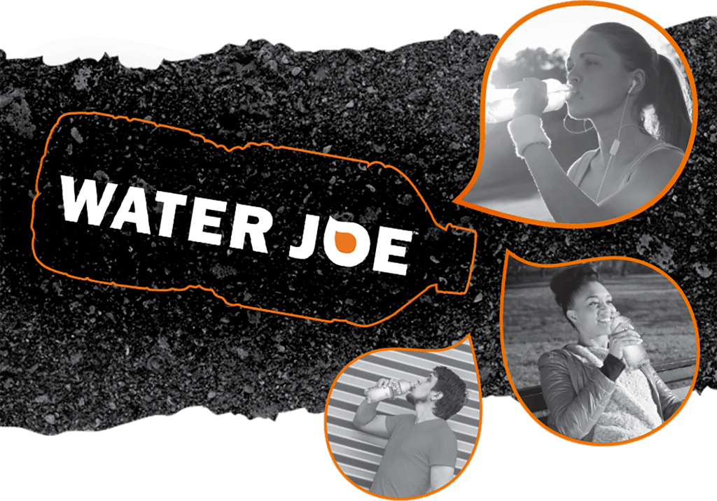people drinking Water Joe over asphalt background