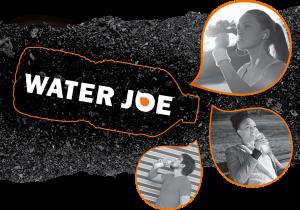 people drinking Water Joe over asphalt background