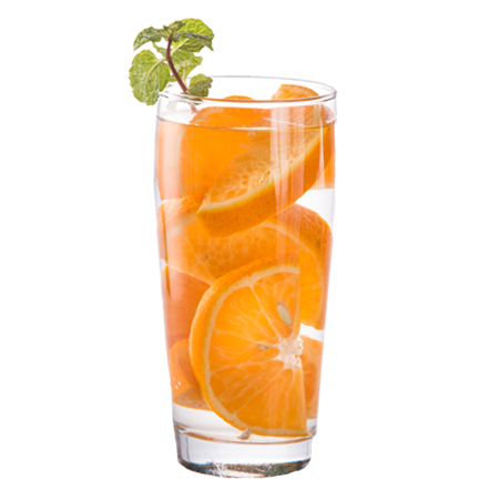 glass of orange slices